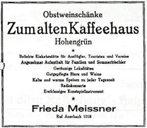 Werbeanzeige von 1928 für die Obstweinschänke Beerheide