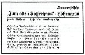 Eintrag im Ortsprospekt 1930 zum Alten Kaffeehaus Hohengrün